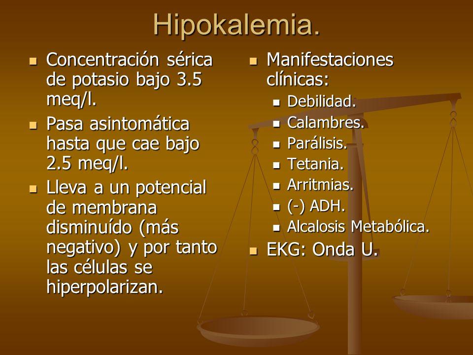 Hipokalemia. Concentración sérica de potasio bajo 3.5 meq/l.