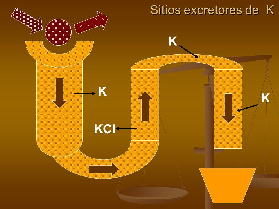 Sitios excretores de K K K K KCl