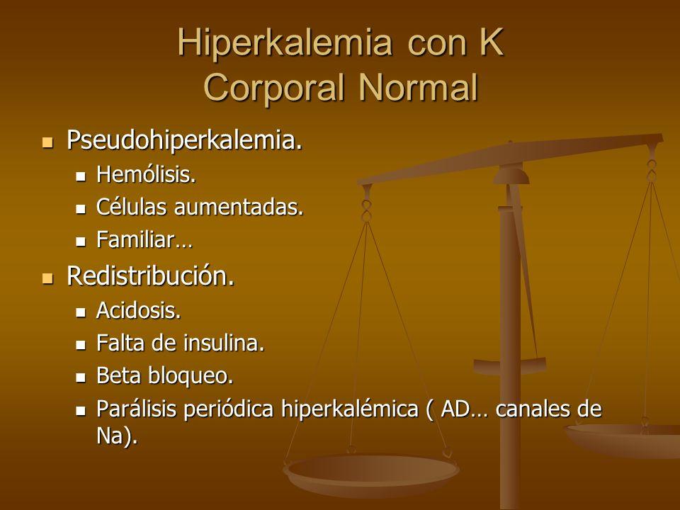 Hiperkalemia con K Corporal Normal