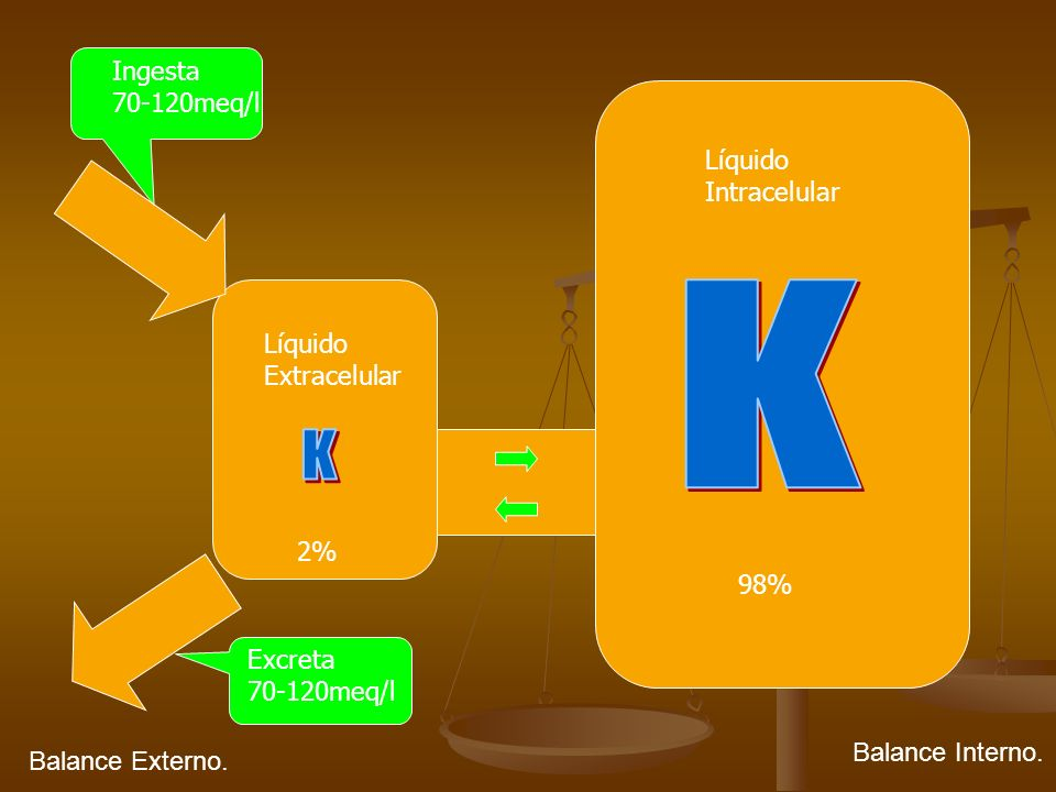 K K Ingesta 70-120meq/l Líquido Intracelular Líquido Extracelular 2%