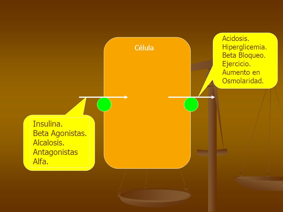 Insulina. Beta Agonistas. Alcalosis. Antagonistas Alfa. Acidosis.