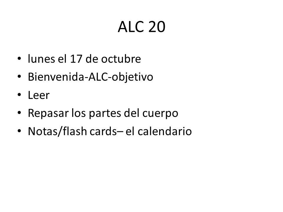 ALC 20 lunes el 17 de octubre Bienvenida-ALC-objetivo Leer