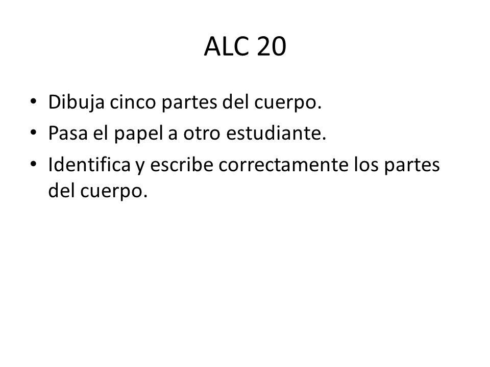 ALC 20 Dibuja cinco partes del cuerpo.