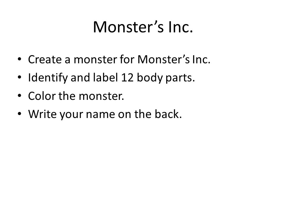 Monster's Inc. Create a monster for Monster's Inc.