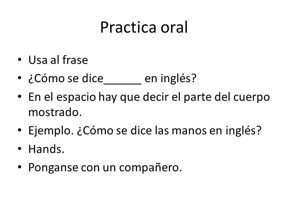 Practica oral Usa al frase ¿Cómo se dice______ en inglés