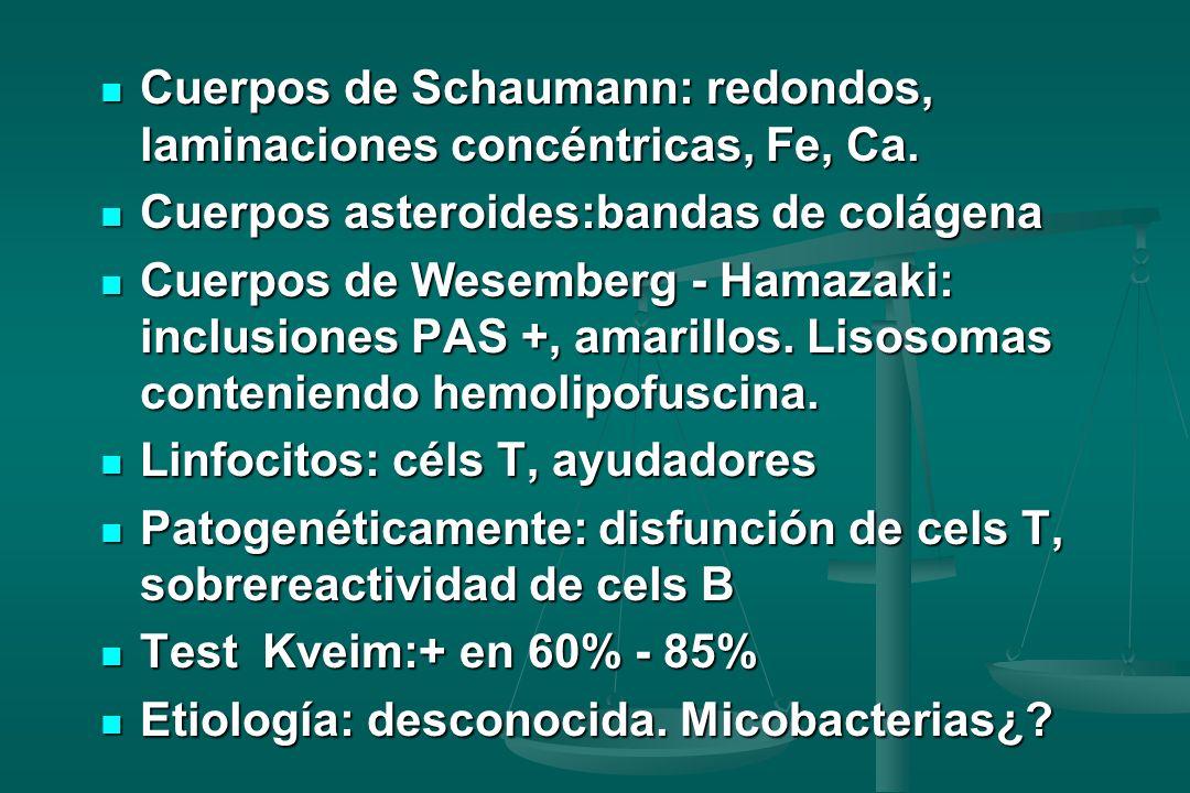 Cuerpos de Schaumann: redondos, laminaciones concéntricas, Fe, Ca.