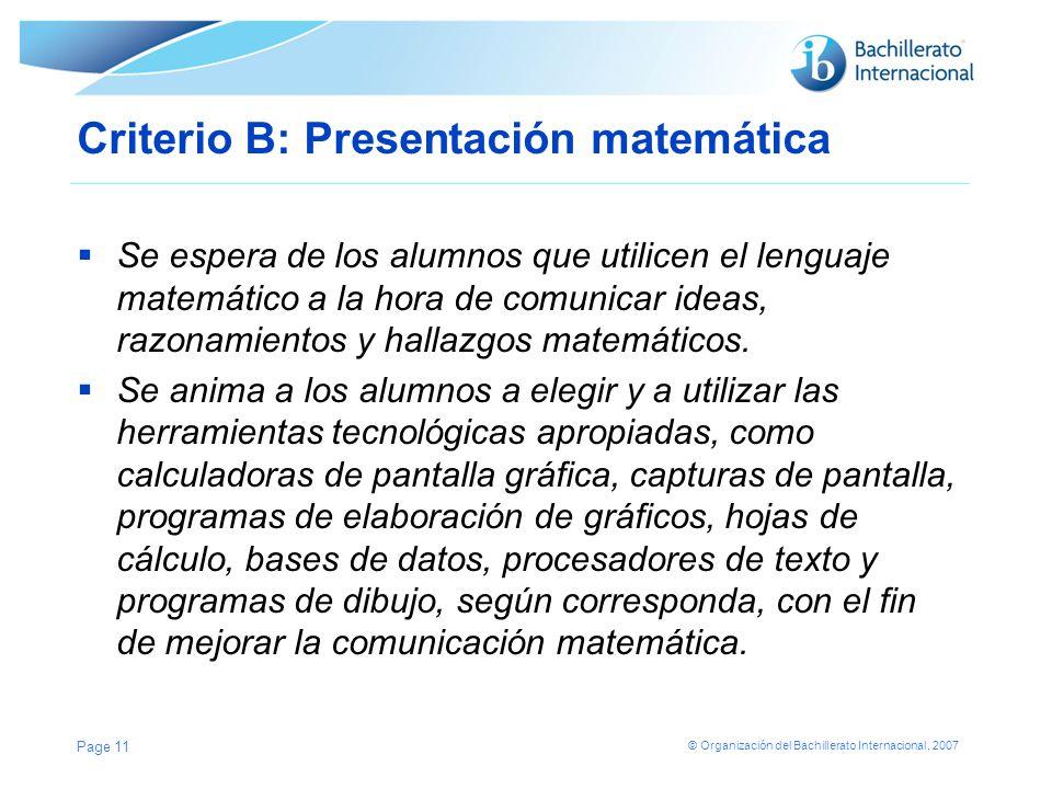 Criterio B: Presentación matemática