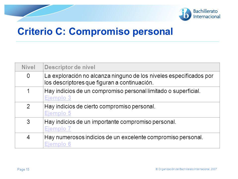Criterio C: Compromiso personal