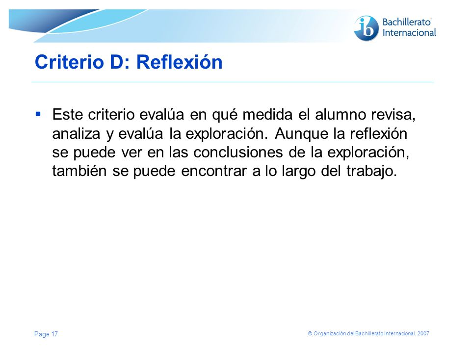 Criterio D: Reflexión