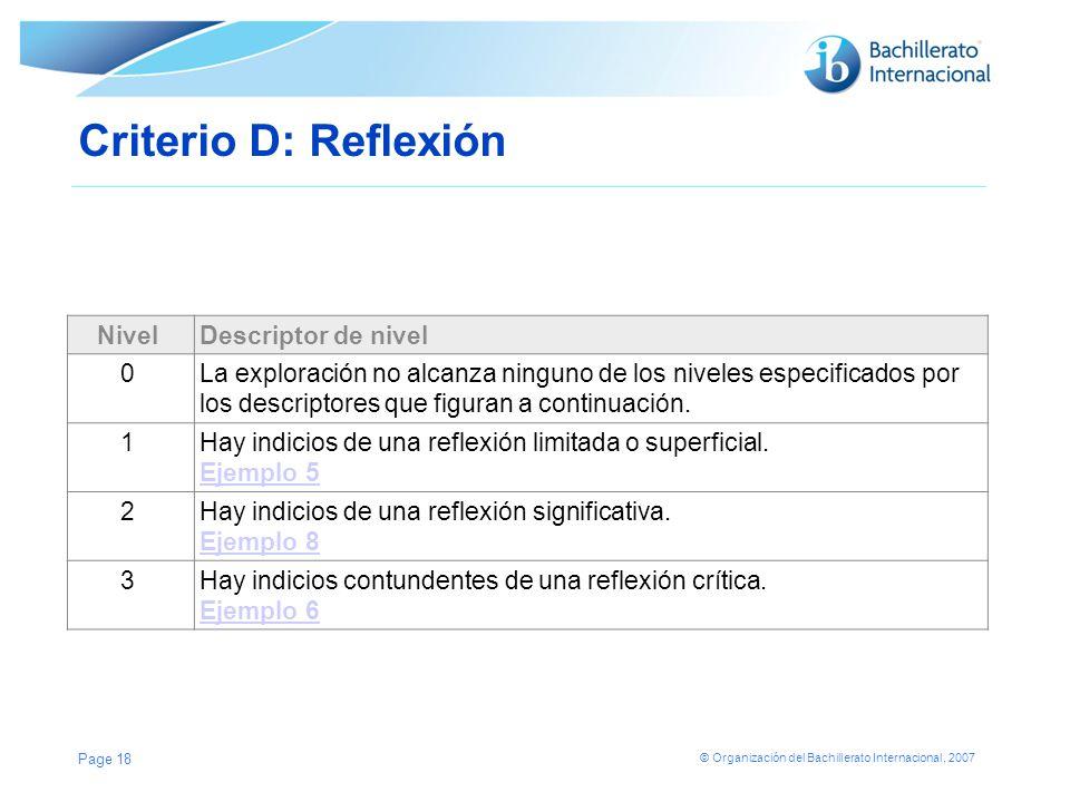 Criterio D: Reflexión Nivel Descriptor de nivel