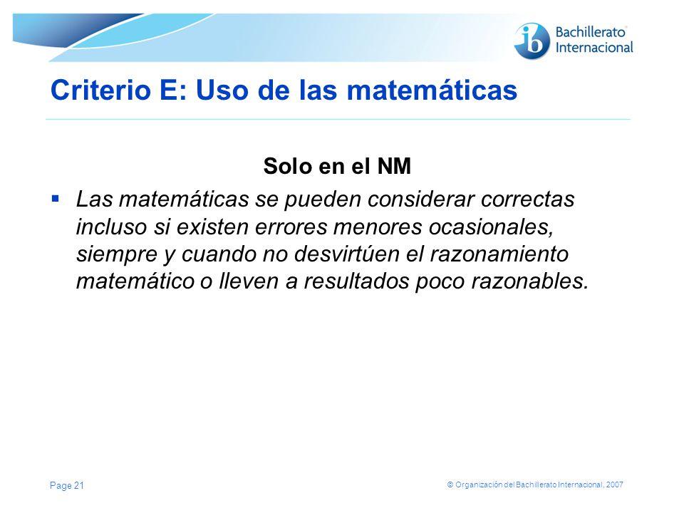 Criterio E: Uso de las matemáticas