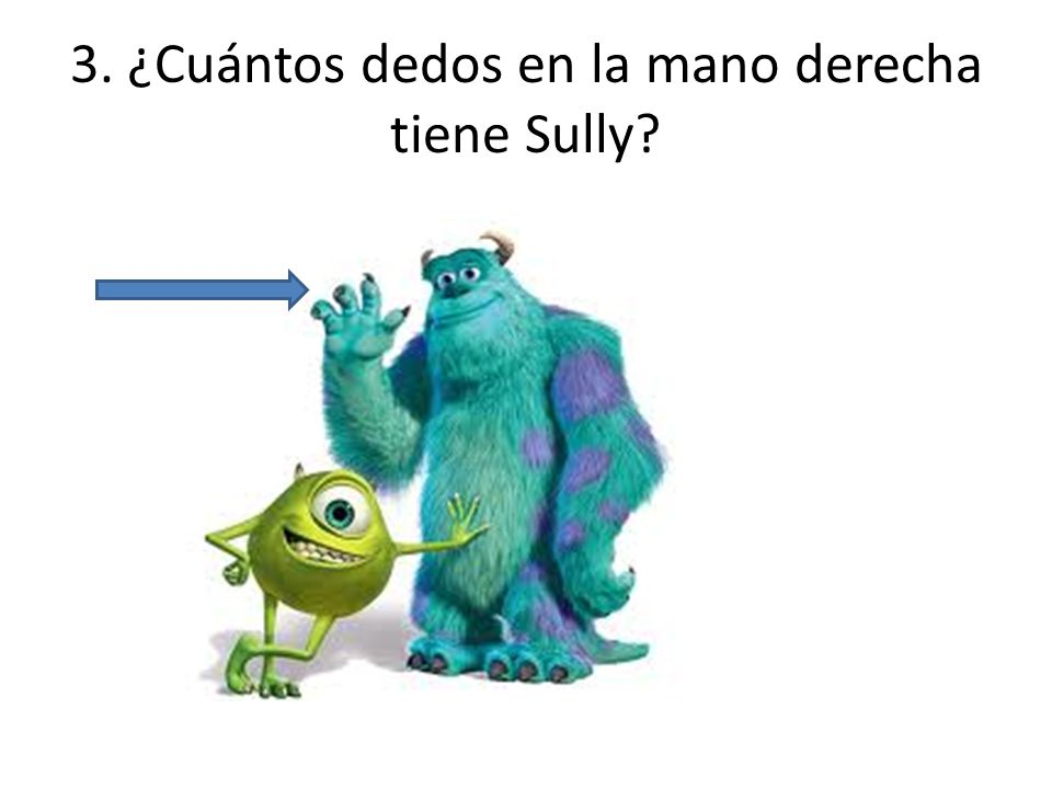 3. ¿Cuántos dedos en la mano derecha tiene Sully