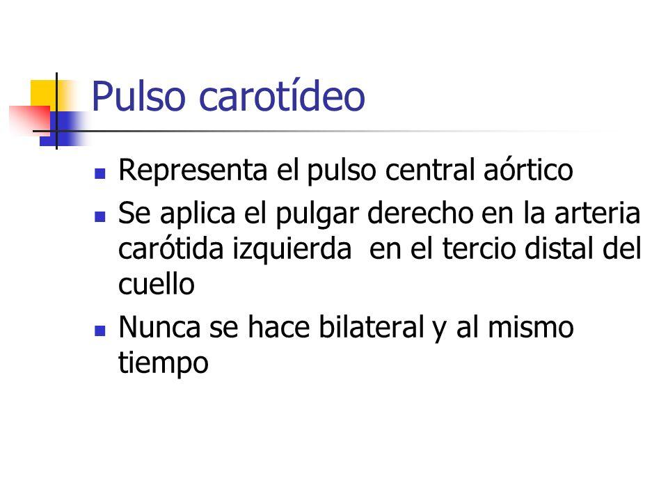 Pulso carotídeo Representa el pulso central aórtico