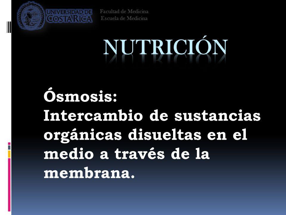 Facultad de Medicina Escuela de Medicina. Nutrición. Ósmosis: Intercambio de sustancias orgánicas disueltas en el medio a través de la membrana.