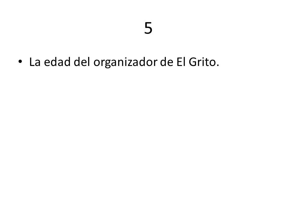 5 La edad del organizador de El Grito.