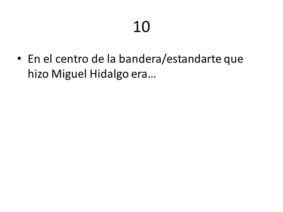 10 En el centro de la bandera/estandarte que hizo Miguel Hidalgo era…