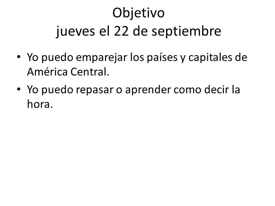 Objetivo jueves el 22 de septiembre