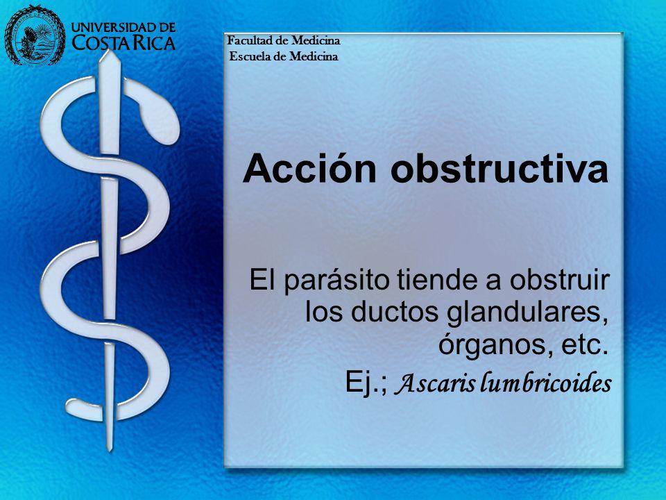 Facultad de Medicina Escuela de Medicina. Acción obstructiva. El parásito tiende a obstruir los ductos glandulares, órganos, etc.