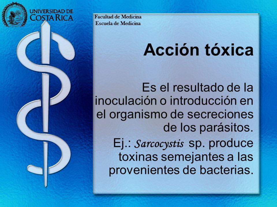 Facultad de MedicinaEscuela de Medicina. Acción tóxica.