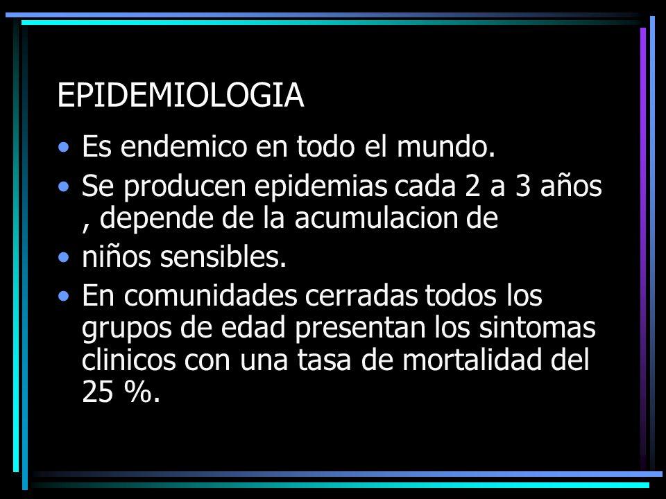 EPIDEMIOLOGIA Es endemico en todo el mundo.