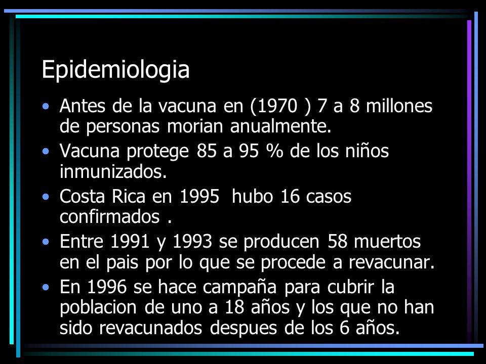 Epidemiologia Antes de la vacuna en (1970 ) 7 a 8 millones de personas morian anualmente. Vacuna protege 85 a 95 % de los niños inmunizados.