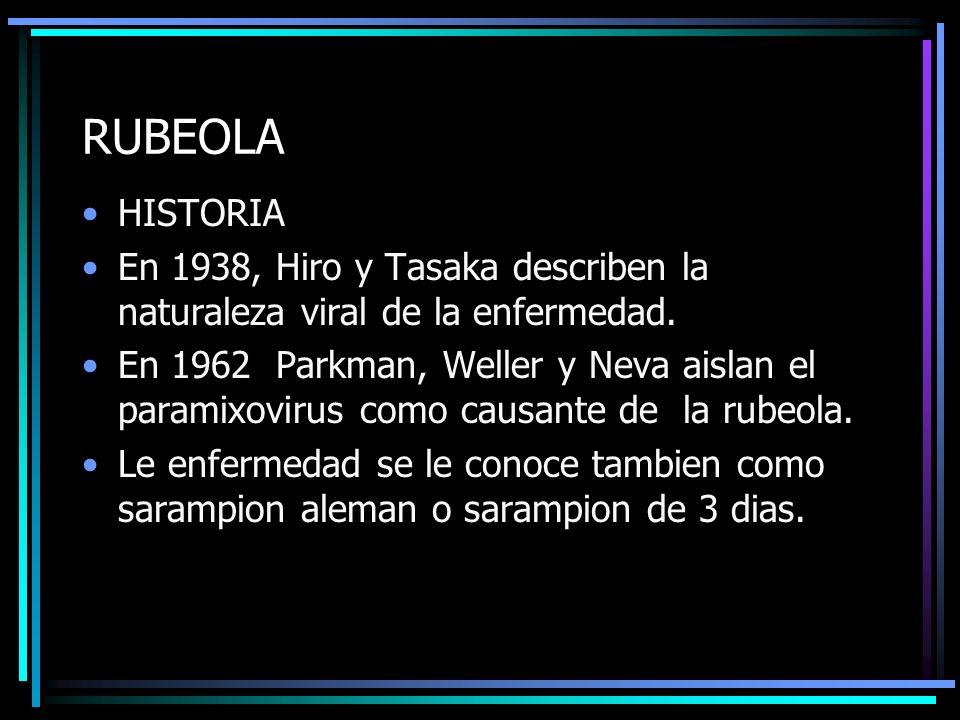 RUBEOLA HISTORIA. En 1938, Hiro y Tasaka describen la naturaleza viral de la enfermedad.