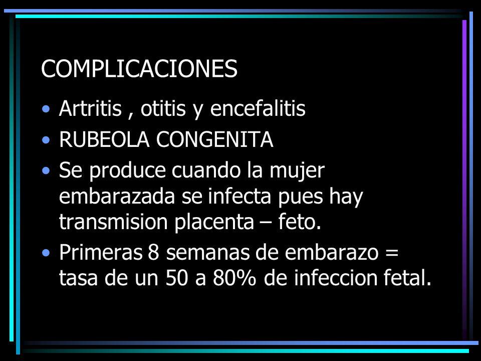 COMPLICACIONES Artritis , otitis y encefalitis RUBEOLA CONGENITA