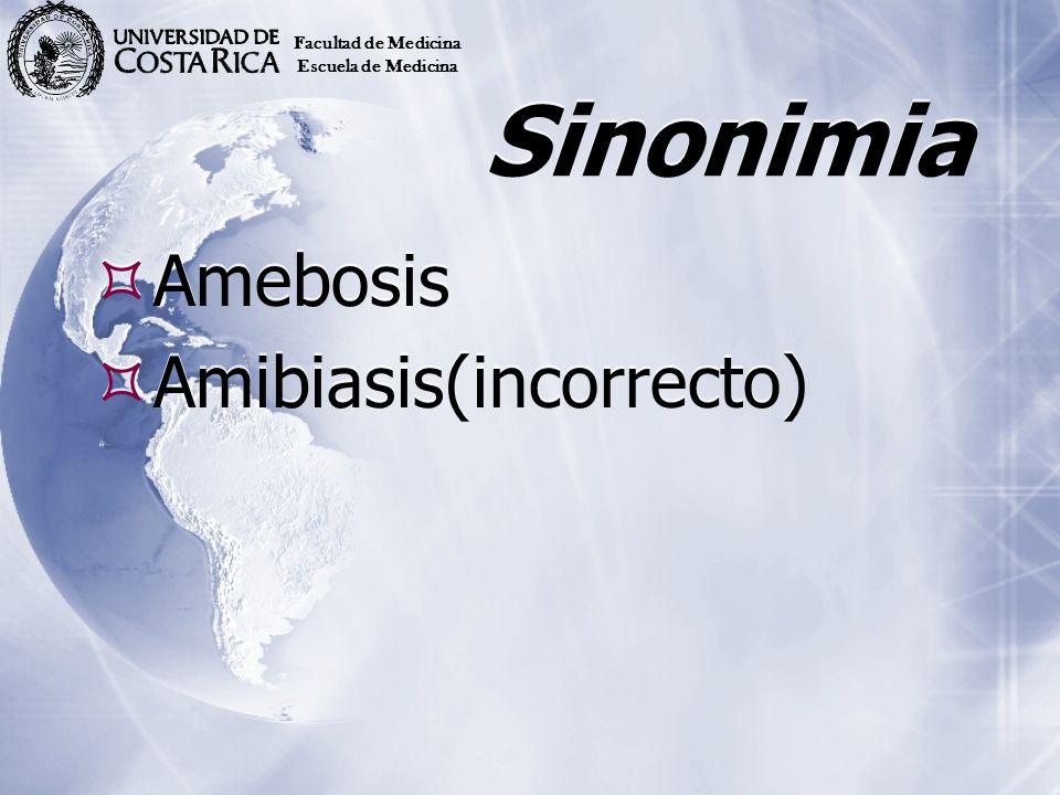 Sinonimia Amebosis Amibiasis(incorrecto) Facultad de Medicina
