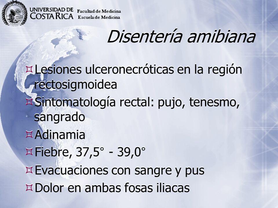 Facultad de Medicina Escuela de Medicina. Disentería amibiana. Lesiones ulceronecróticas en la región rectosigmoidea.