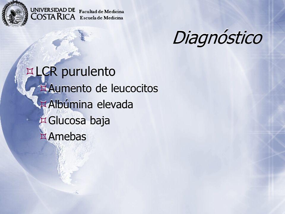 Diagnóstico LCR purulento Aumento de leucocitos Albúmina elevada