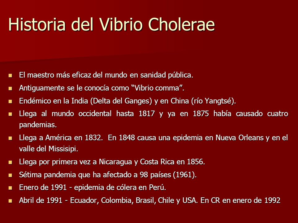 Historia del Vibrio Cholerae
