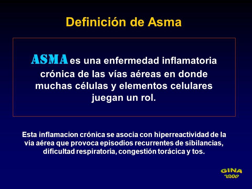 Definición de Asma Asma es una enfermedad inflamatoria crónica de las vías aéreas en donde. muchas células y elementos celulares.