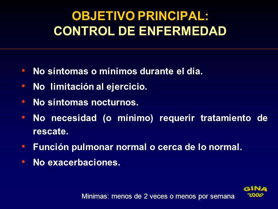 OBJETIVO PRINCIPAL: CONTROL DE ENFERMEDAD
