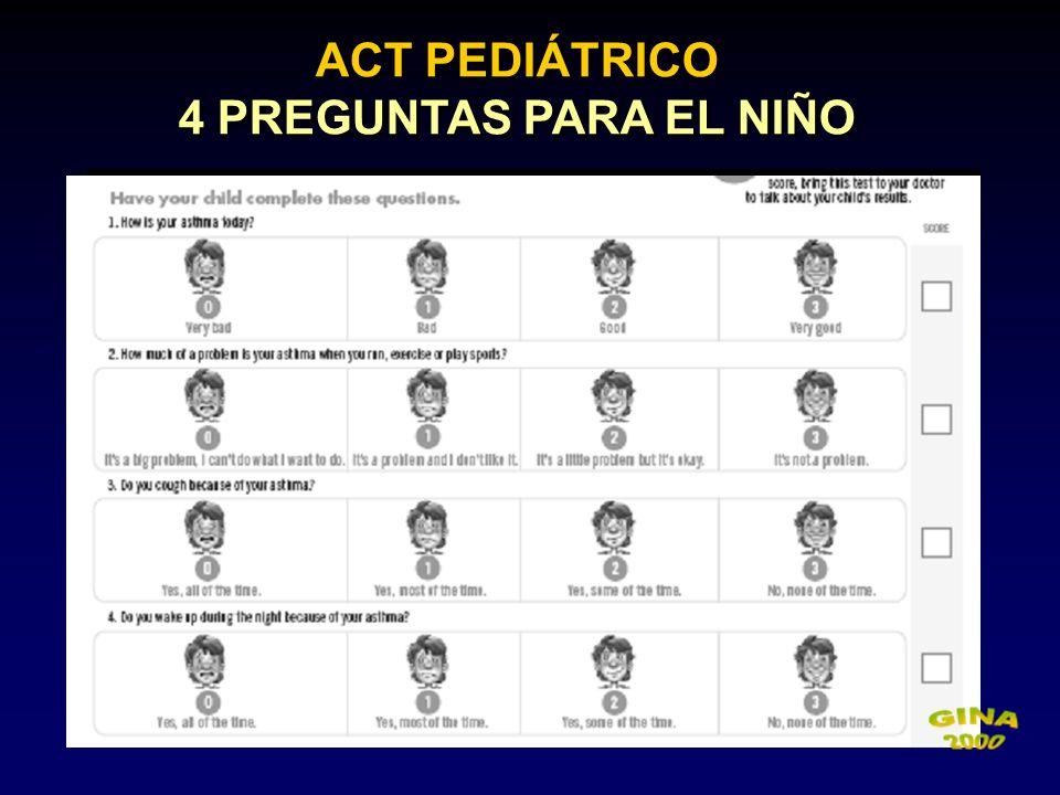 ACT PEDIÁTRICO 4 PREGUNTAS PARA EL NIÑO