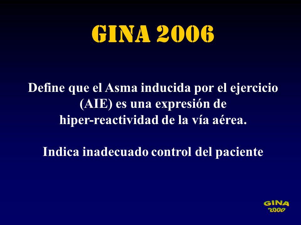 GINA 2006Define que el Asma inducida por el ejercicio (AIE) es una expresión de. hiper-reactividad de la vía aérea.