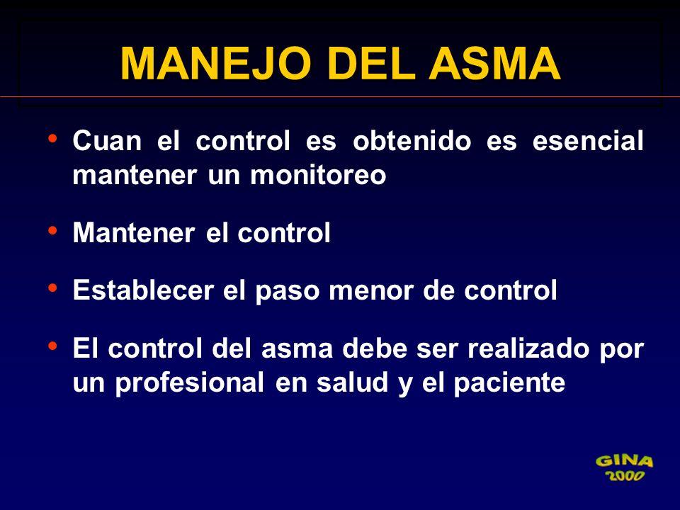 MANEJO DEL ASMA Cuan el control es obtenido es esencial mantener un monitoreo. Mantener el control.