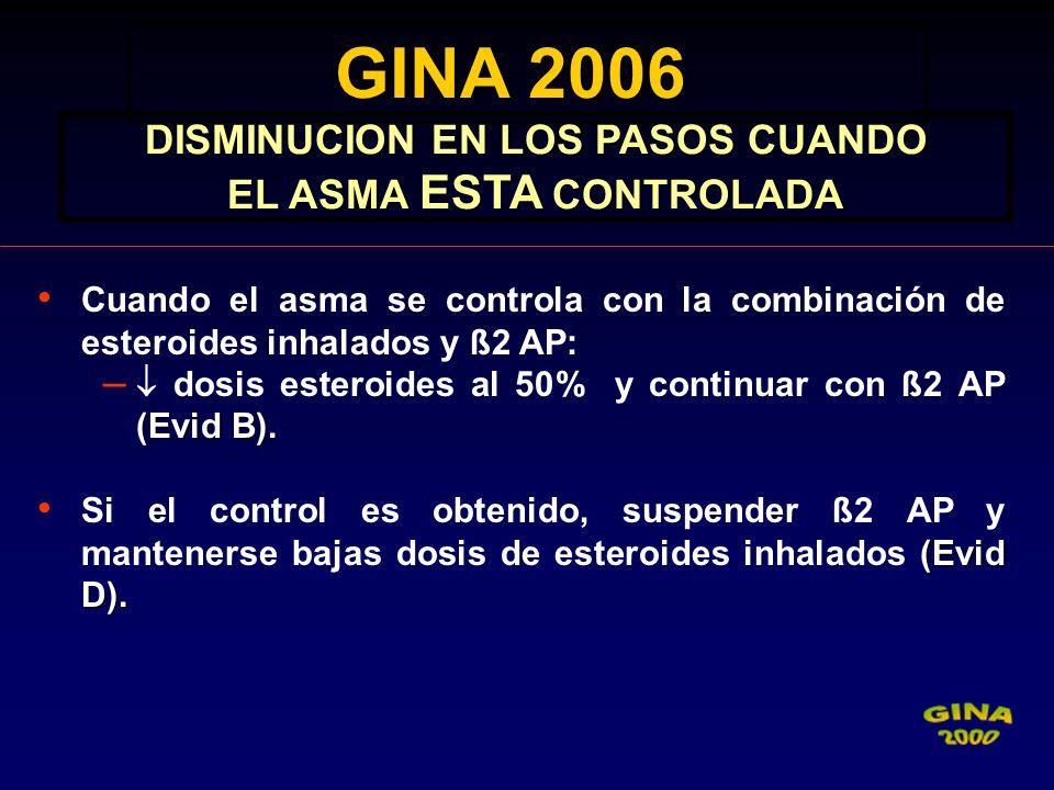 DISMINUCION EN LOS PASOS CUANDO EL ASMA ESTA CONTROLADA