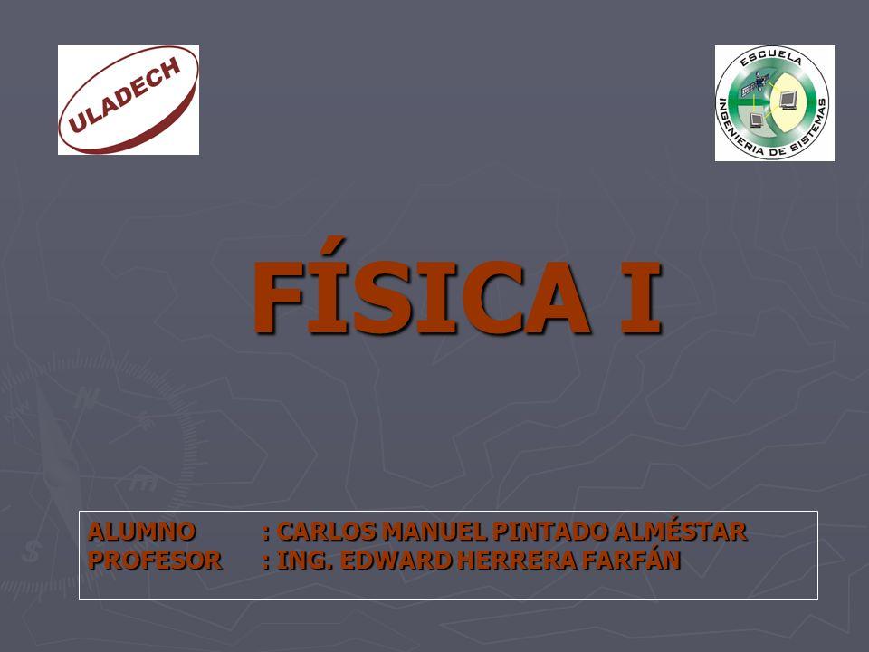 FÍSICA I ALUMNO : CARLOS MANUEL PINTADO ALMÉSTAR PROFESOR : ING. EDWARD HERRERA FARFÁN