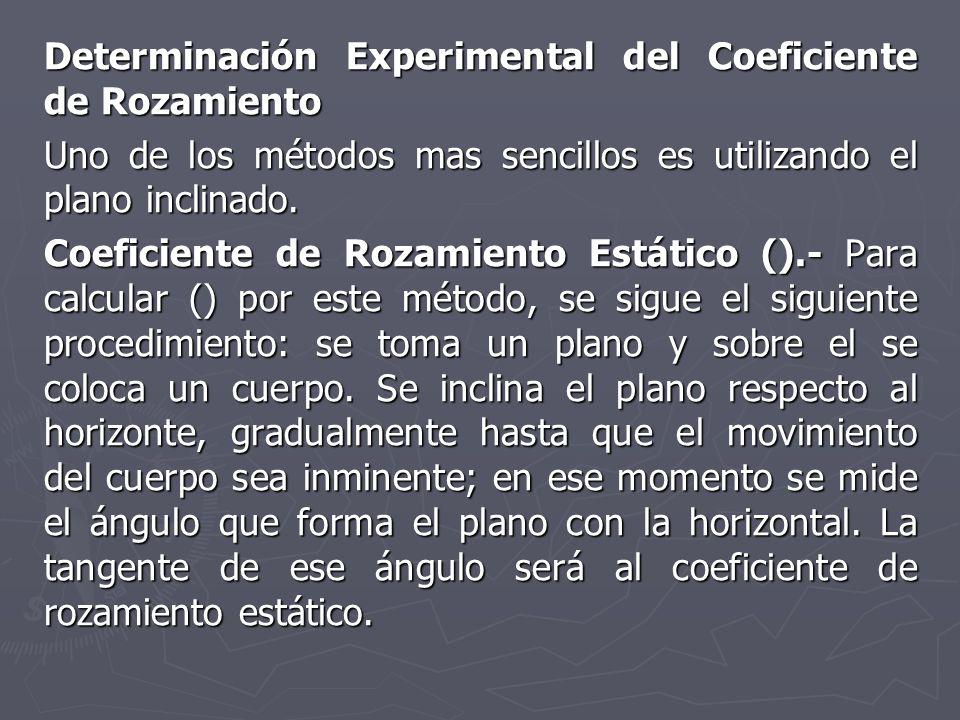 Determinación Experimental del Coeficiente de Rozamiento