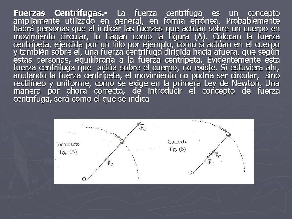 Fuerzas Centrífugas.- La fuerza centrifuga es un concepto ampliamente utilizado en general, en forma errónea.