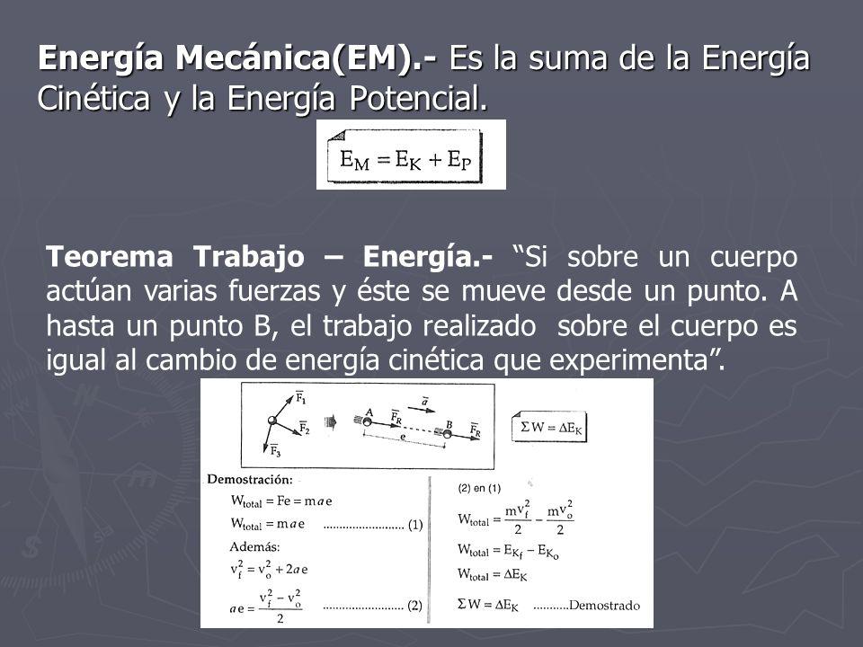Energía Mecánica(EM).- Es la suma de la Energía Cinética y la Energía Potencial.
