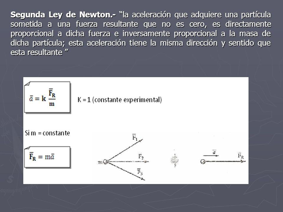 Segunda Ley de Newton.- la aceleración que adquiere una partícula sometida a una fuerza resultante que no es cero, es directamente proporcional a dicha fuerza e inversamente proporcional a la masa de dicha partícula; esta aceleración tiene la misma dirección y sentido que esta resultante