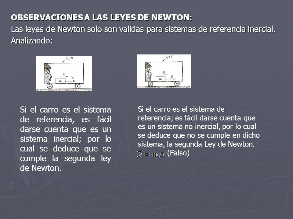 OBSERVACIONES A LAS LEYES DE NEWTON: