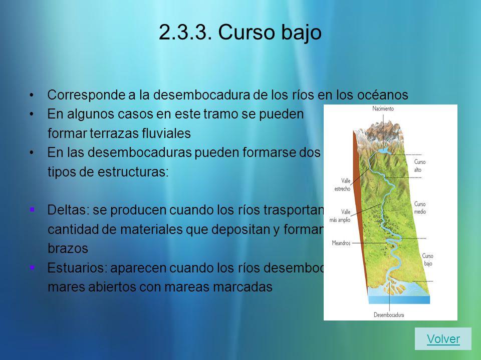 2.3.3. Curso bajo Corresponde a la desembocadura de los ríos en los océanos. En algunos casos en este tramo se pueden.