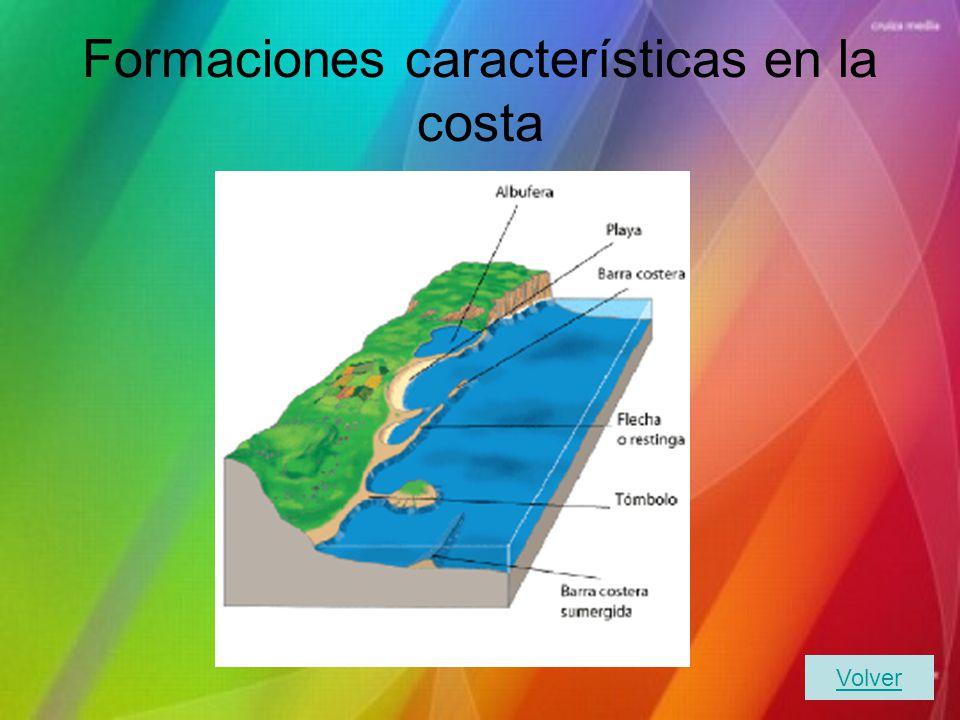 Formaciones características en la costa