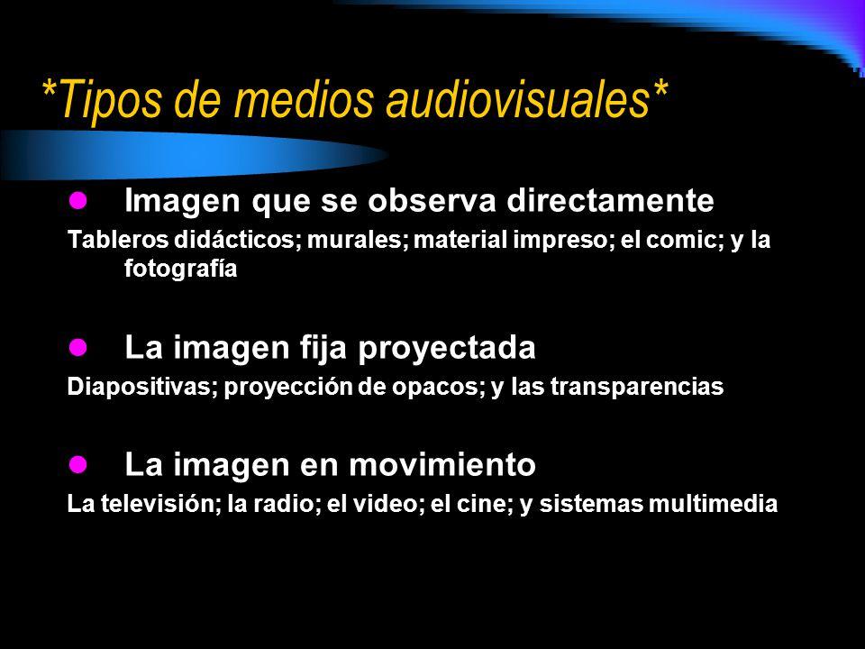 *Tipos de medios audiovisuales*