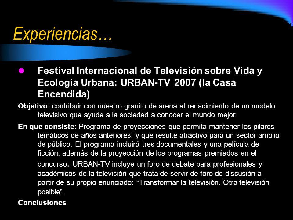 Experiencias… Festival Internacional de Televisión sobre Vida y Ecología Urbana: URBAN-TV 2007 (la Casa Encendida)