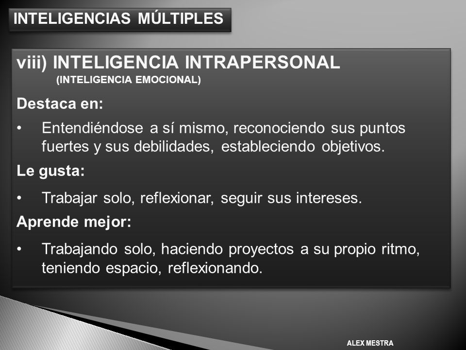 viii) INTELIGENCIA INTRAPERSONAL