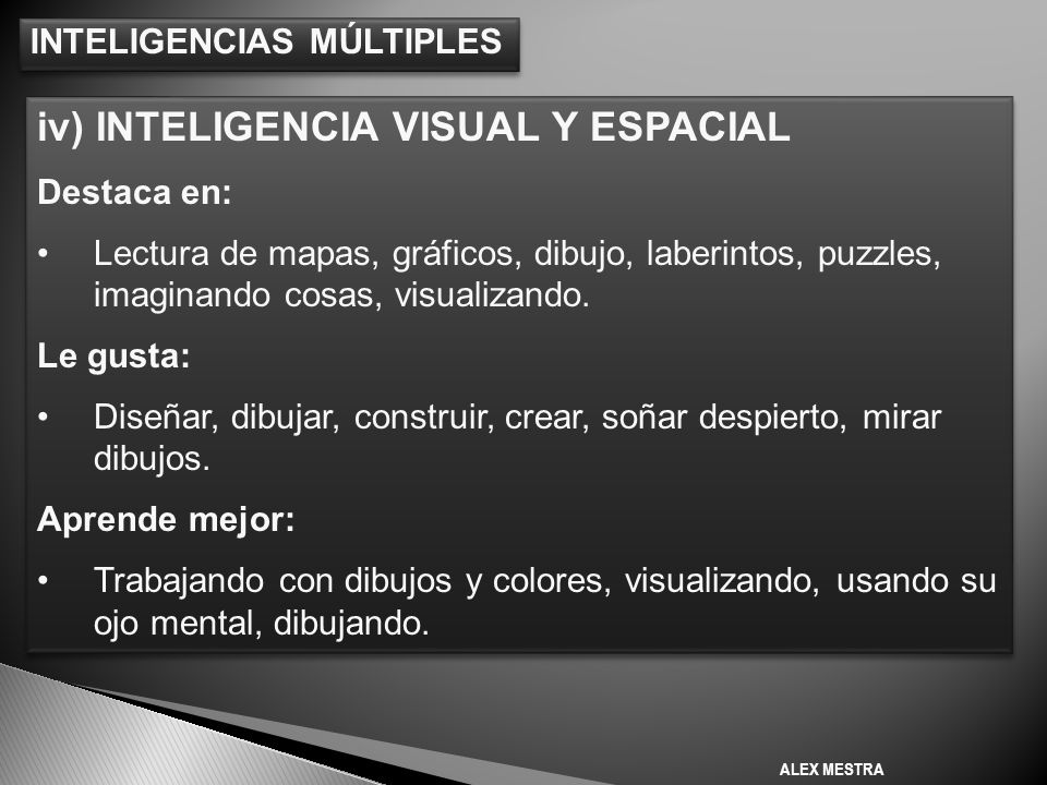 iv) INTELIGENCIA VISUAL Y ESPACIAL
