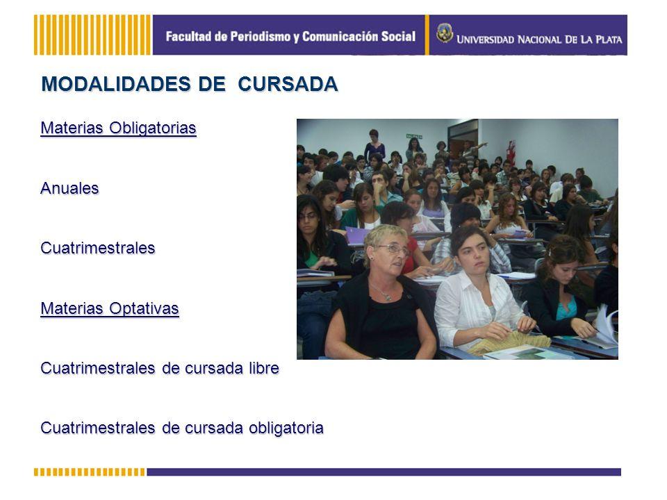 MODALIDADES DE CURSADA